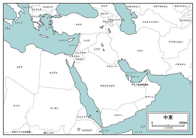 現在の中東地図