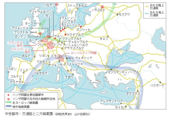 中世都市・交通路と二大商圏
