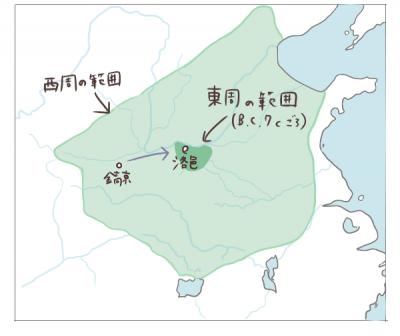 西周と東周の範囲イメージ