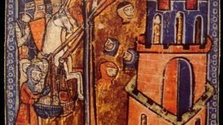 ムスリムの首多数を投石機でニカイア市内に投げ込む十字軍兵士